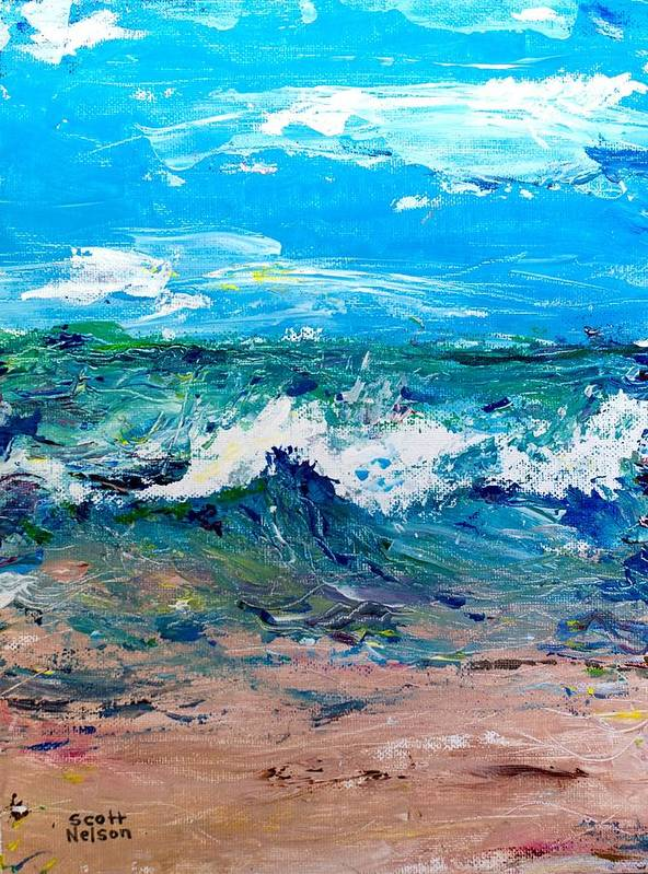 Moody Beach Print featuring the painting Moody Beach In A Mood by Scott Nelson