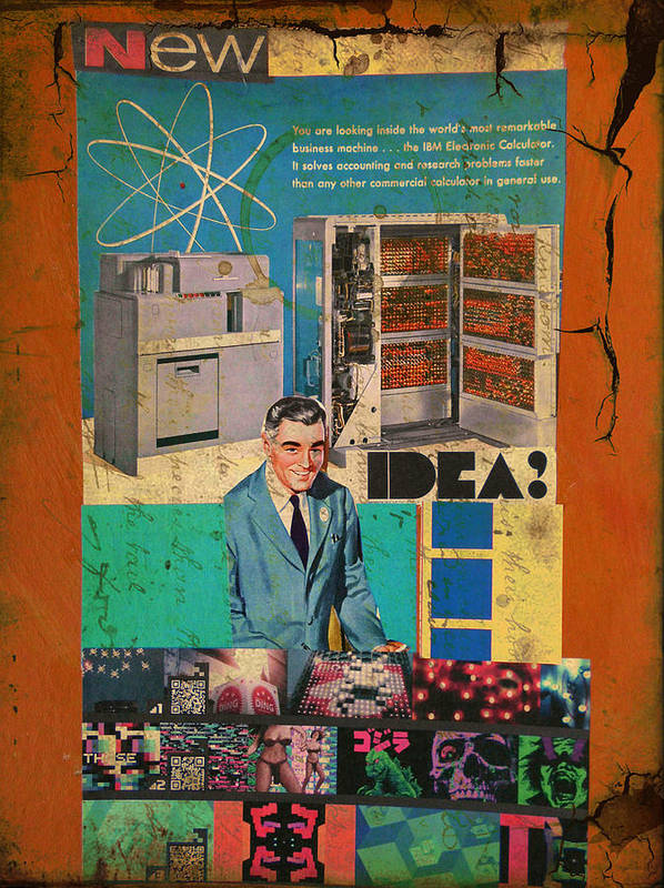 Collage Print featuring the mixed media New Idea by Adam Kissel