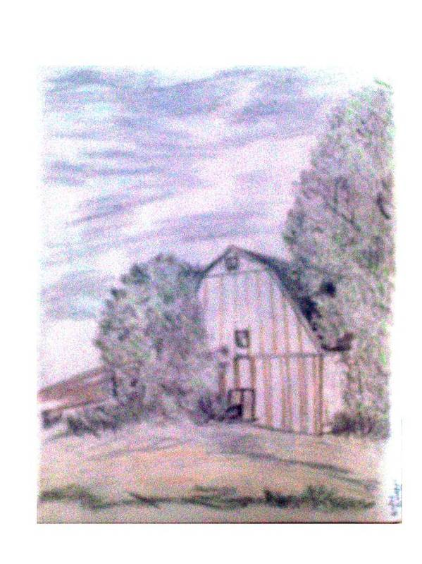 Barn Print featuring the drawing Old Barn by De Beall