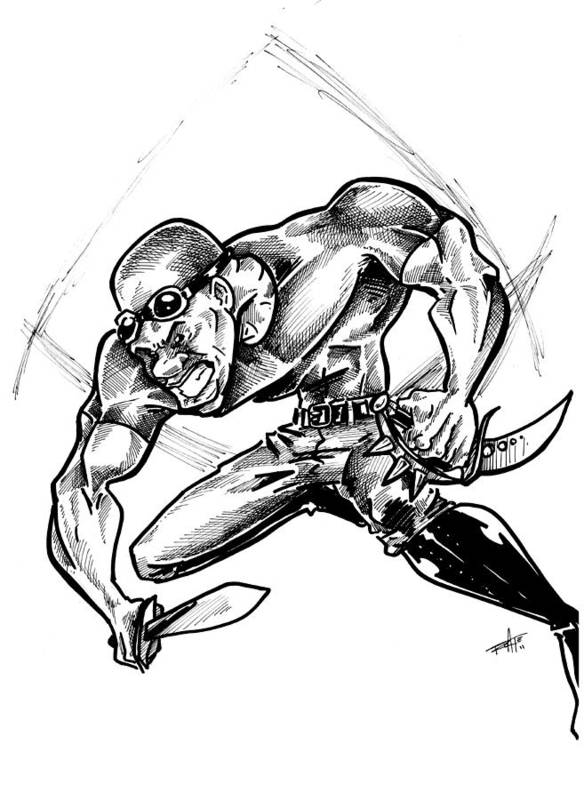 Riddick Print featuring the drawing Riddick by Big Mike Roate