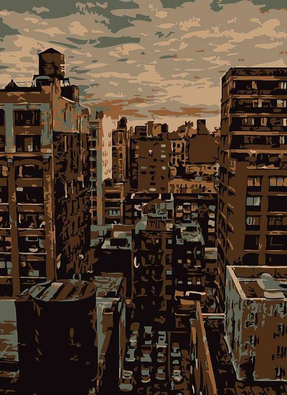 New York City Rooftop Print featuring the photograph Rooftop Color 6 by Scott Kelley