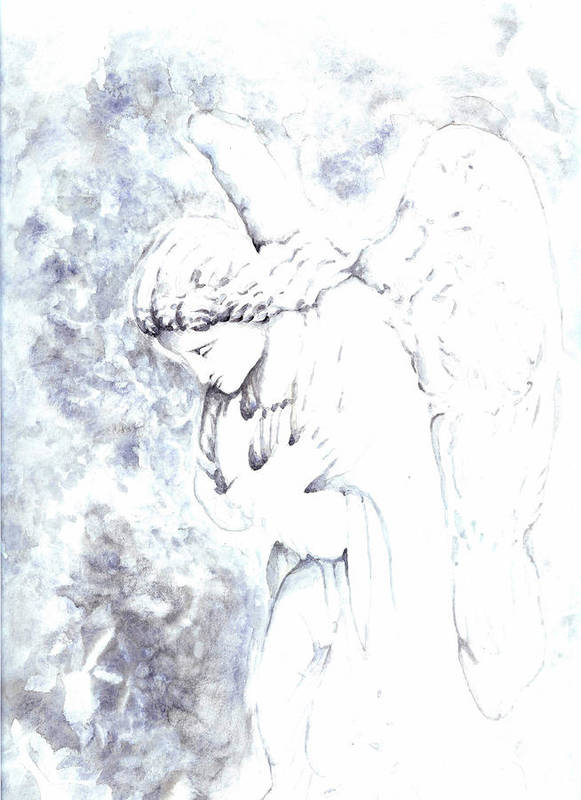 Angel Print featuring the painting Solace Angel by Lisa Buchanan