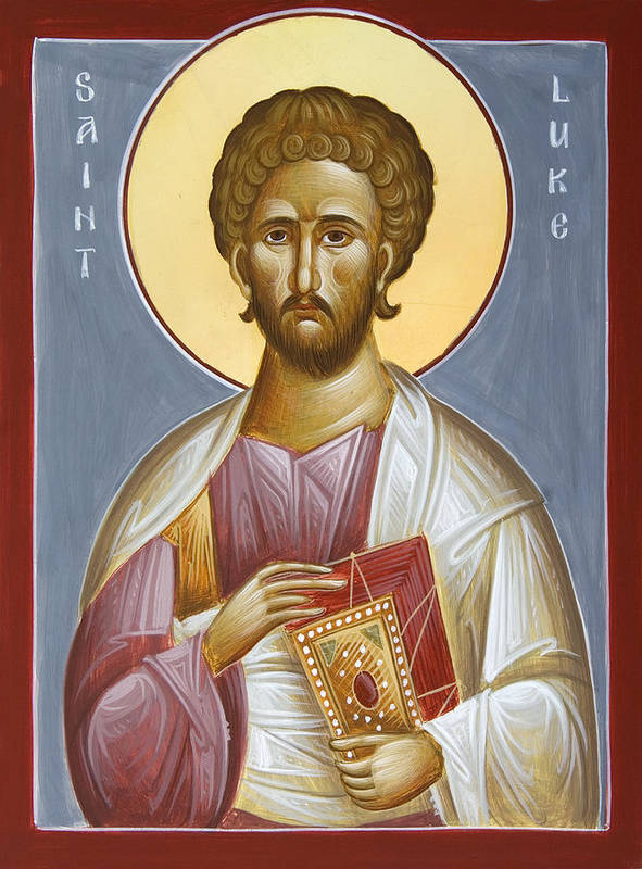 Saint Luke The Evangelist Print featuring the painting St Luke The Evangelist by Julia Bridget Hayes