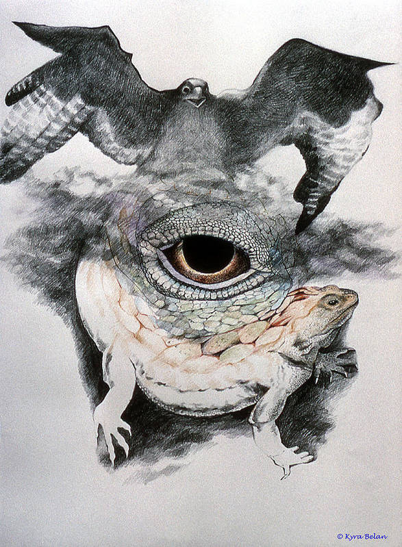 An Eagle Flying Over A Surreal Space Which Includes A Magical Lizard And An Eye Of Power. Print featuring the drawing The Eye Of Power by Kyra Belan