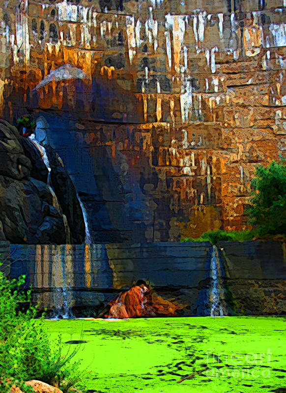 Waterfall Print featuring the photograph Watson Lake Waterfall by Julie Lueders