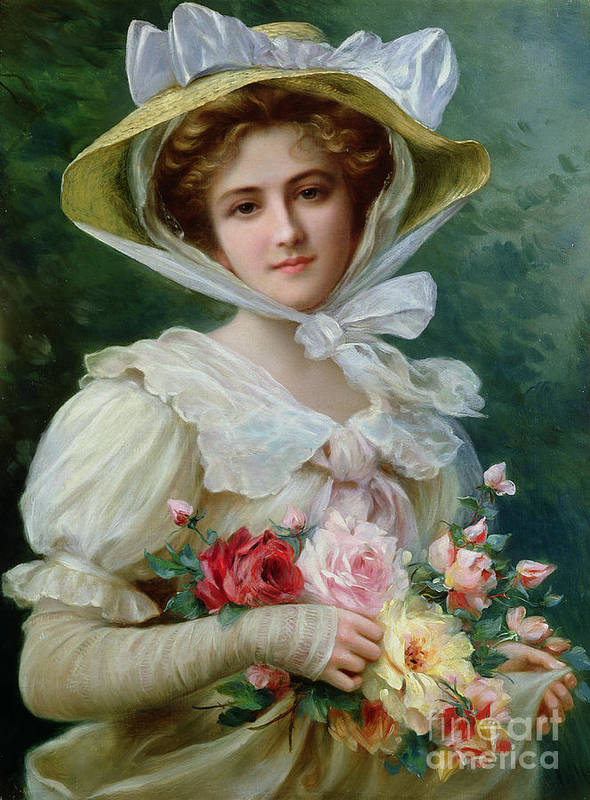 Elegant Lady With A Bouquet Of Roses Print featuring the painting Elegant Lady With A Bouquet Of Roses by Emile Vernon