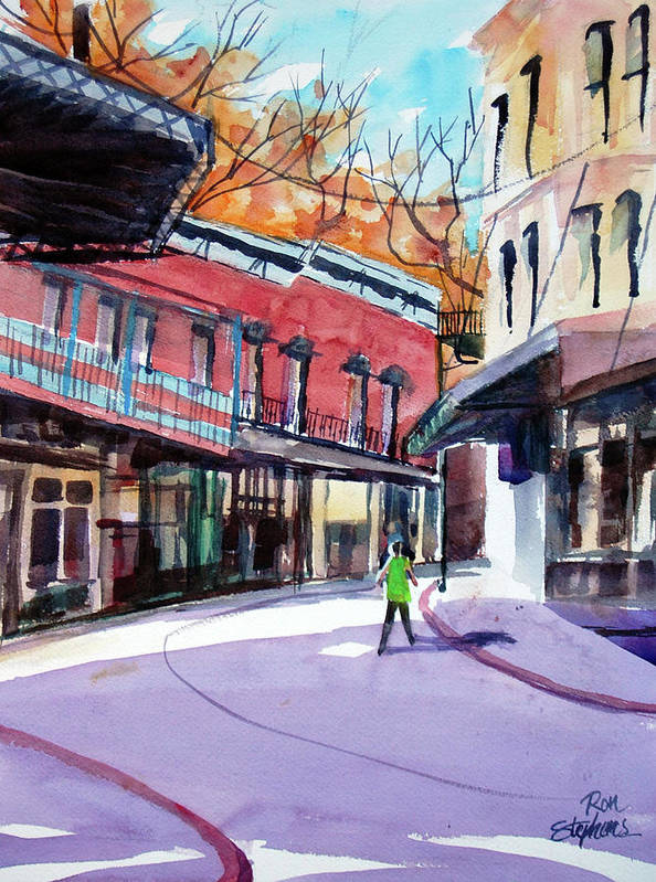 Store Fronts Print featuring the painting Eureka Springs Ak 4 by Ron Stephens