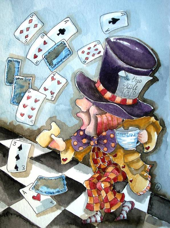 Mad Print featuring the painting The Mad Hatter by Lucia Stewart