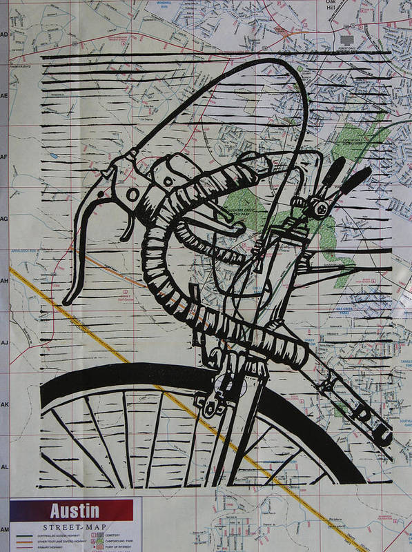 Bike Print featuring the drawing Bike 2 On Map by William Cauthern