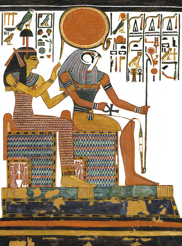 Ancient Egyptian God Print featuring the painting Ancient Egyptian Gods Hathor And Re by Ben Morales-Correa