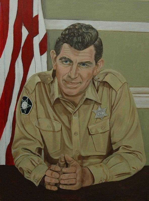 Andy Print featuring the painting Andy Griffith by Tresa Crain