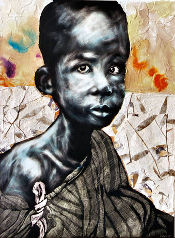 Portriat Print featuring the mixed media Blue Boy In A Big Sweater by Chester Elmore