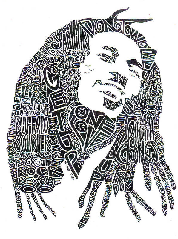 Bob Marley Print featuring the drawing Bob Marley Black And White Word Portrait by Kato Smock