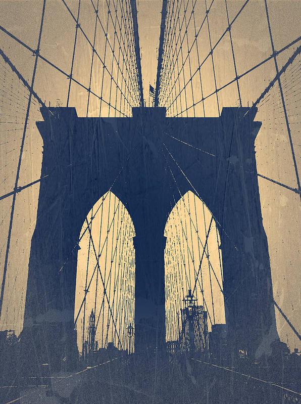 Brooklyn Bridge Print featuring the photograph Brooklyn Bridge Blue by Naxart Studio