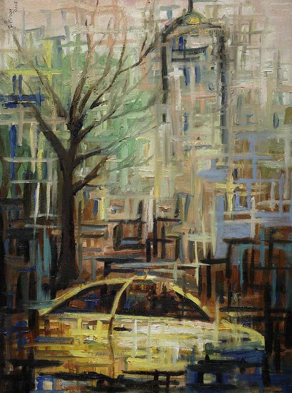 Manhattan Print featuring the painting Fast City II by Janel Bragg