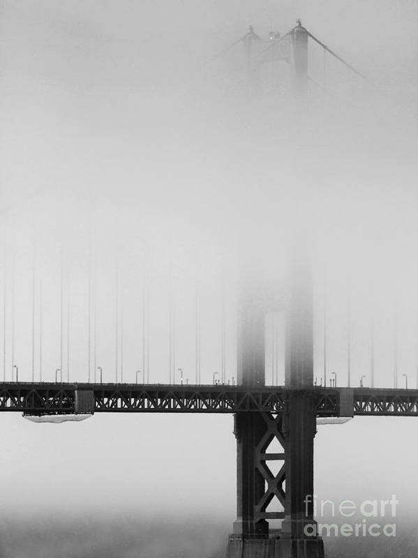 Black And White Print featuring the photograph Fog At The Golden Gate Bridge 4 - Black And White by Wingsdomain Art and Photography