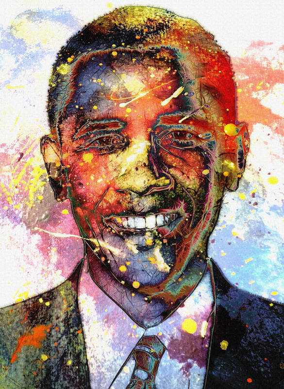 President Barack Obama Color Colored World Painting Usa Us 44th United States Print featuring the painting For A Colored World by Steve K