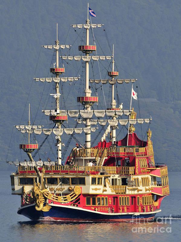 Pirate Ship Print featuring the photograph Hakone Sightseeing Cruise Ship Sailing On Lake Ashi Hakone Japan by Andy Smy