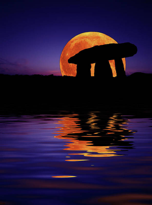 Ancient Print featuring the photograph Harvest Moon by Mark Stokes