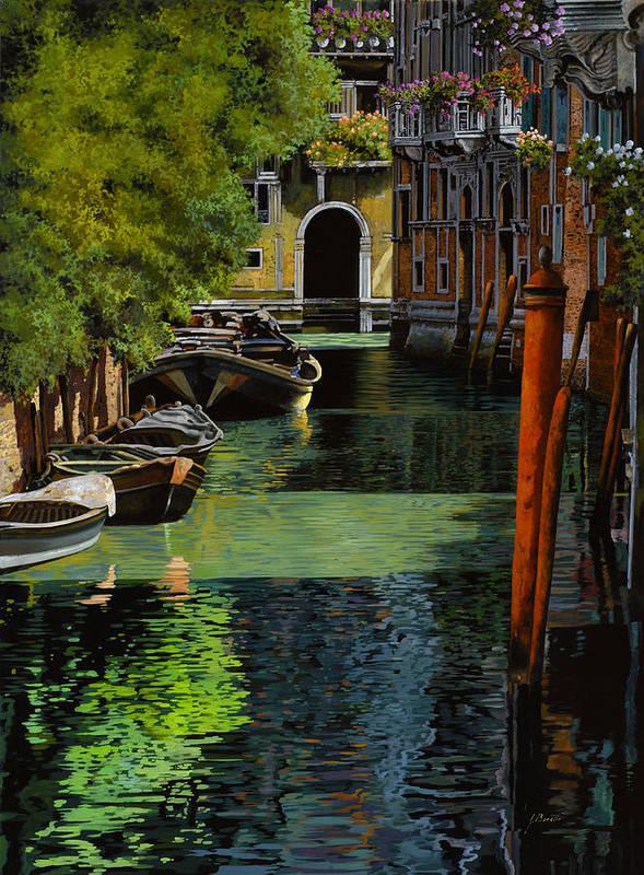 Venice Print featuring the painting il palo rosso a Venezia by Guido Borelli