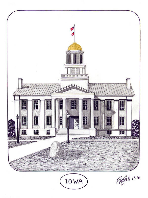 Iowa Old Capital Building Pen And Ink Drawing Print featuring the drawing Iowa by Frederic Kohli