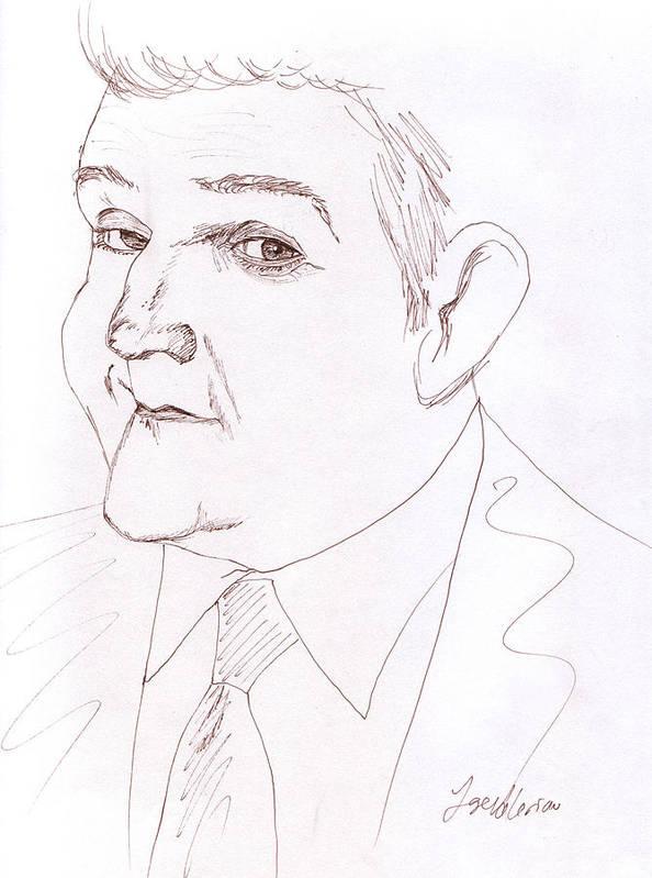 Jay Leno Print featuring the drawing Jay Leno by M Valeriano