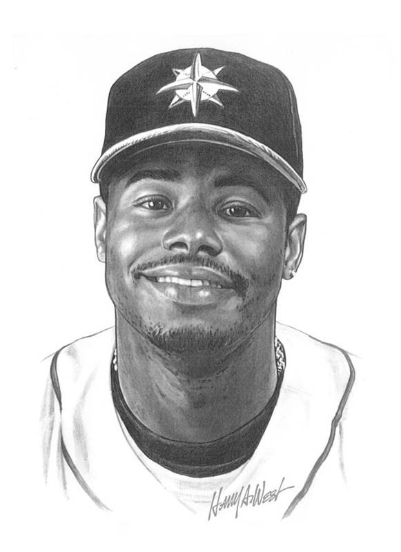 Ken Griffy Print featuring the drawing Ken Griffey Jr by Harry West