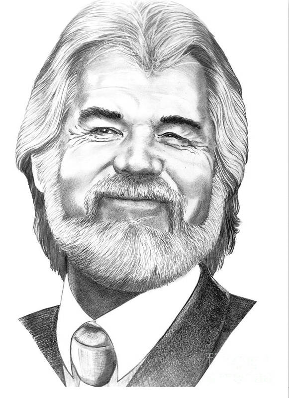 Music Print featuring the drawing Kenny Rogers by Murphy Elliott