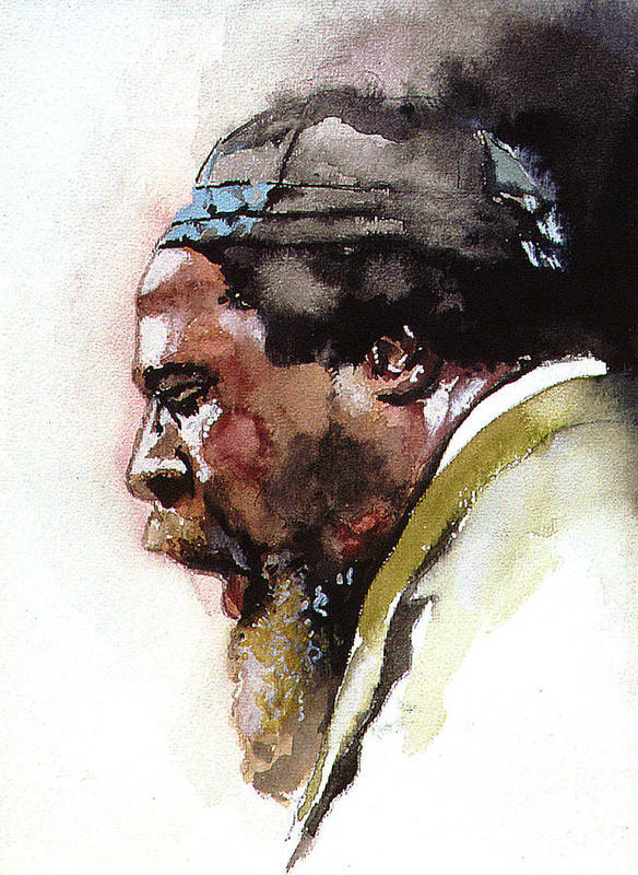 Watercolor Print featuring the painting Monk by Bryan Dechter