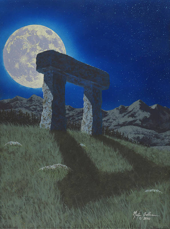 Moon Print featuring the painting Moon Gate by Martin Bellmann