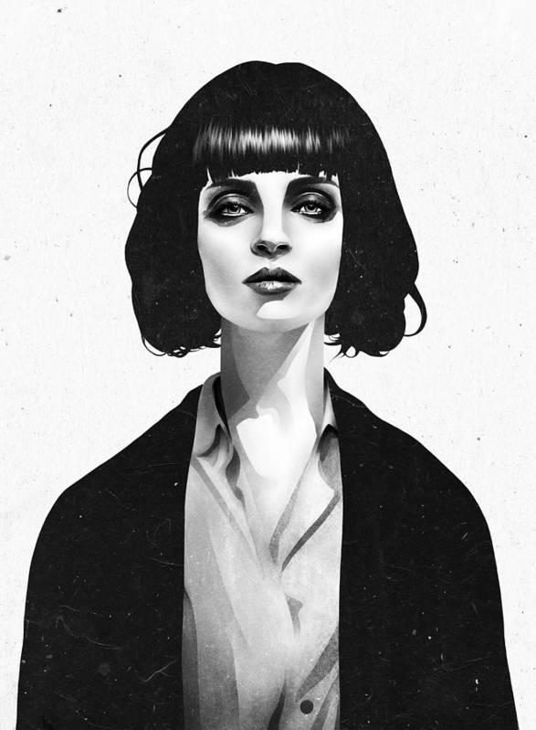 Mia Print featuring the mixed media Mrs Mia Wallace by Ruben Ireland