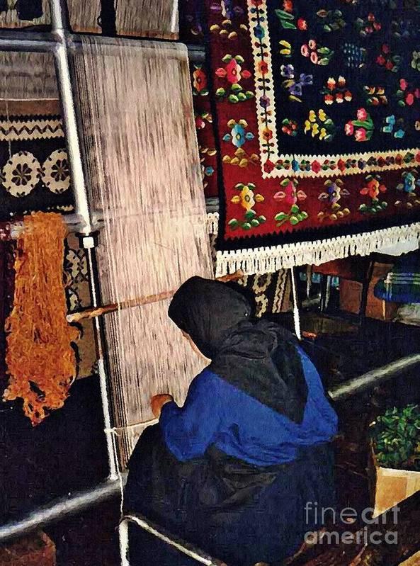 Monastery Print featuring the photograph Nun Knotting Carpet by Sarah Loft
