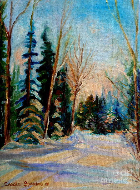 Ormstown Quebec Winter Road Print featuring the painting Ormstown Quebec Winter Road by Carole Spandau