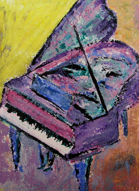 Piano Print featuring the painting Piano Pink by Anita Burgermeister