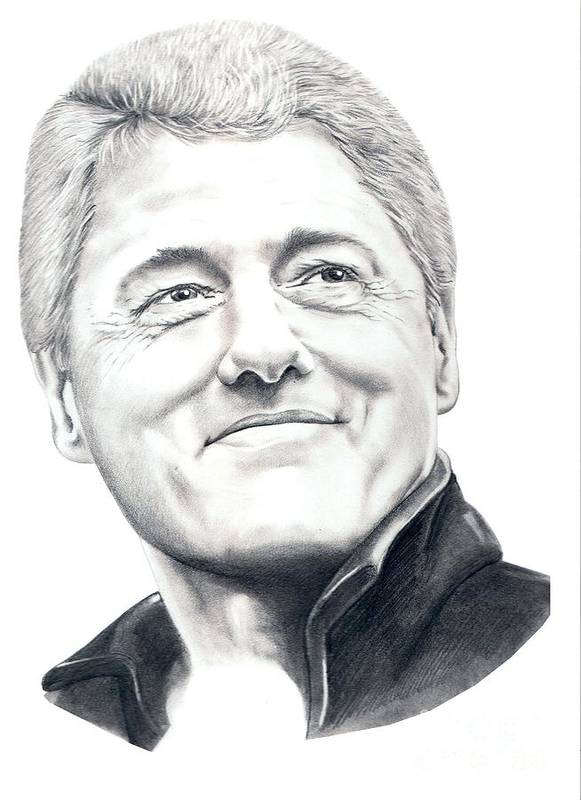 President Bill Clinton Print featuring the drawing President Bill Clinton by Murphy Elliott