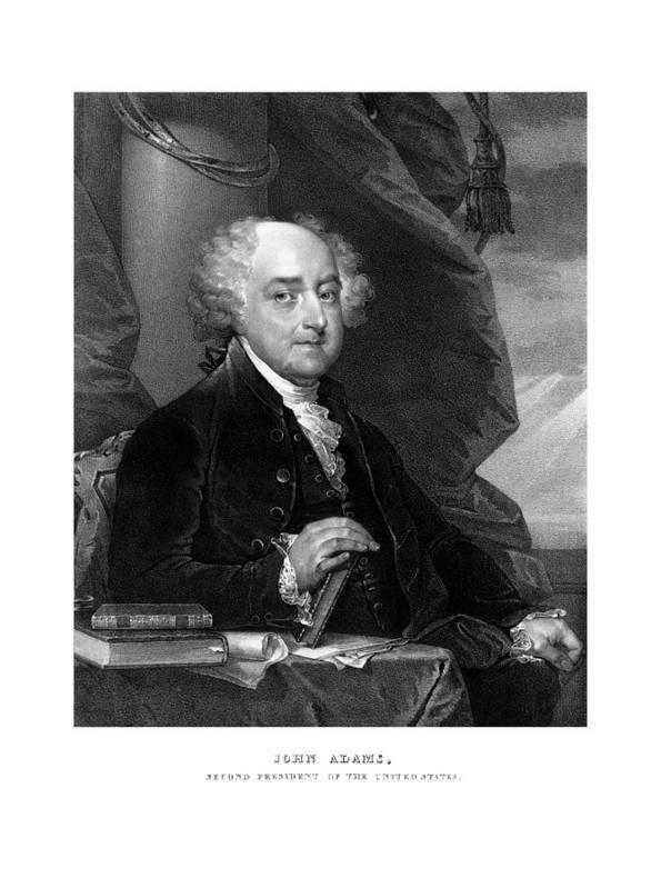 John Adams Print featuring the mixed media President John Adams by War Is Hell Store