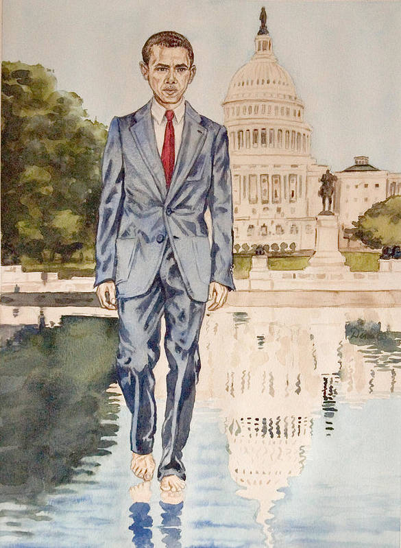 President Barack Obama Print featuring the painting President Obama Walking On Water by Andrew Bowers