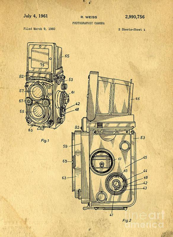 Medium Print featuring the drawing Rolleiflex Medium Format Twin Lens Reflex Tlr Patent by Edward Fielding