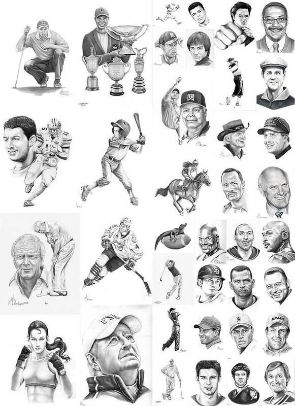 Pencil Print featuring the drawing Sports Figures Collage by Murphy Elliott