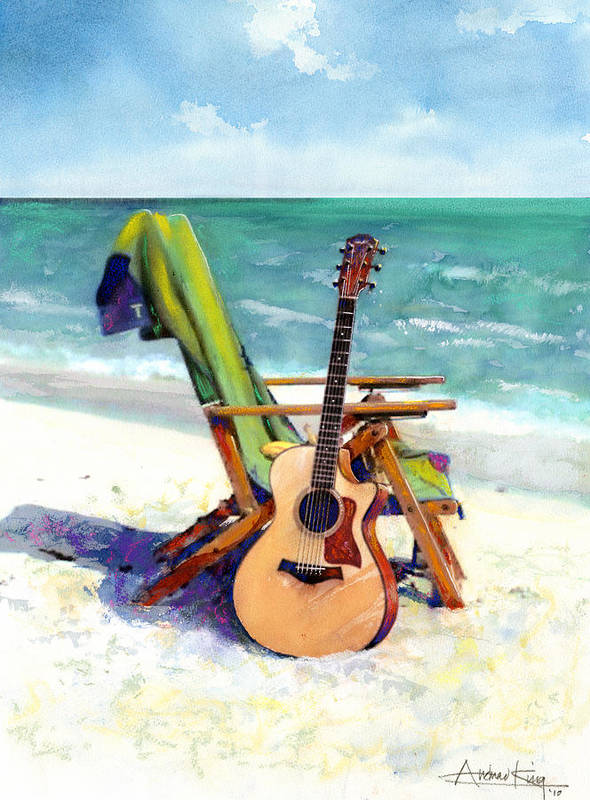 Guitar Paintings Print featuring the painting Taylor At The Beach by Andrew King