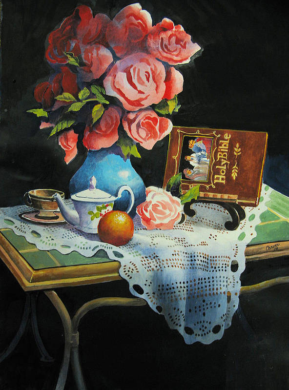 Stillife Print featuring the painting Tea Time by Robert Carver
