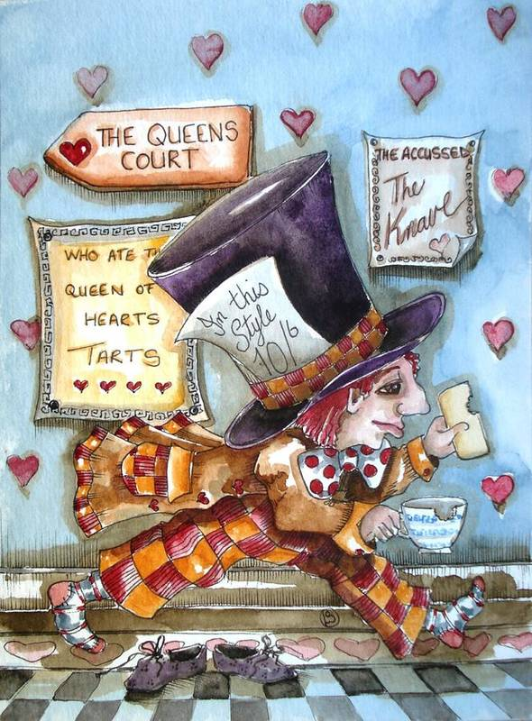 Alice In Wonderland Print featuring the painting The Mad Hatter - In Court by Lucia Stewart