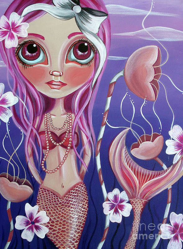 Mermaid Print featuring the painting The Mermaid's Garden by Jaz Higgins
