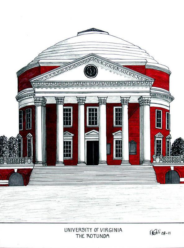 University Of Virginia Rotunda Drawing Print featuring the drawing University Of Virginia by Frederic Kohli