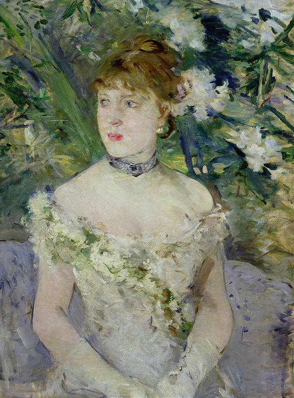 Young Print featuring the painting Young Girl In A Ball Gown by Berthe Morisot