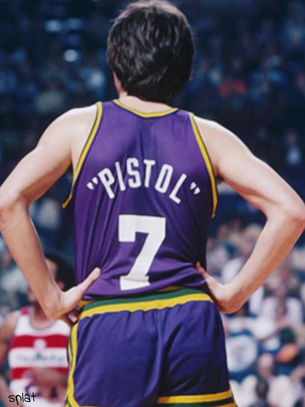 Pete Print featuring the painting Pistol Pete Maravich by Paint Splat
