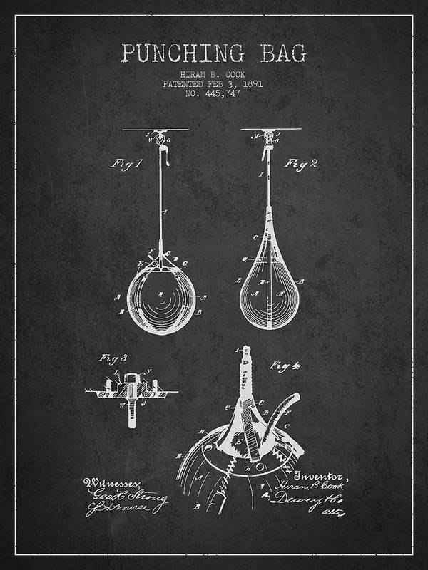 Punching Bag Print featuring the drawing Striking Bag Patent Drawing From1891 by Aged Pixel