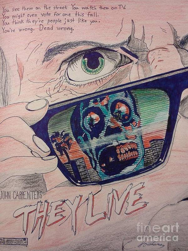They Live Print featuring the mixed media They Live by Christopher Soeters