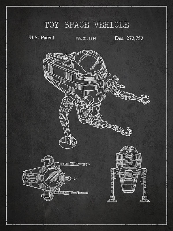 Starwars Print featuring the drawing Toy Space Vehicle Patent by Aged Pixel