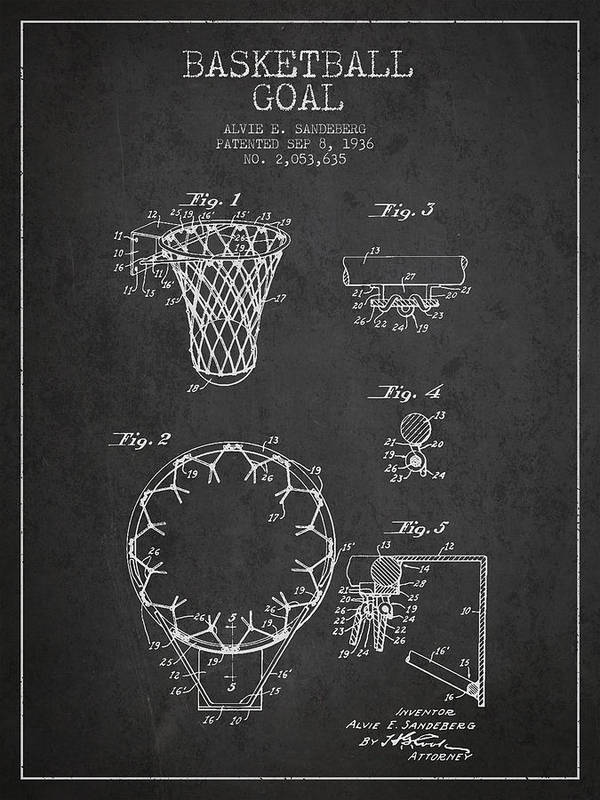Hoop Patent Print featuring the drawing Vintage Basketball Goal Patent From 1936 by Aged Pixel